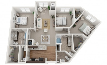 The Glenridge - 3 bedroom floorplan layout with 2.5 bath and 1421 square feet