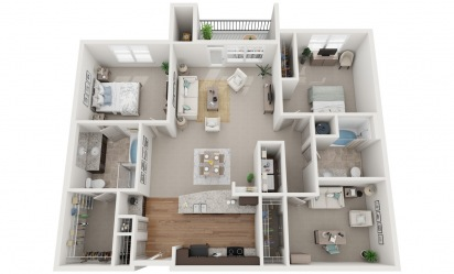The Abernathy - 3 bedroom floorplan layout with 2 bath and 1396 square feet