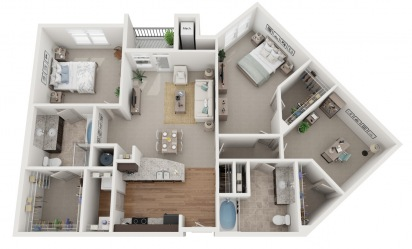 The Jonhson Ferry - 3 bedroom floorplan layout with 2 bath and 1483 square feet