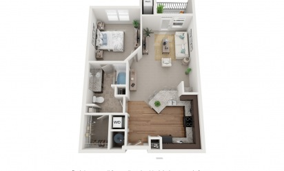 The St. Joseph - 1 bedroom floorplan layout with 1 bath and 750 to 824 square feet